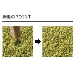 日本製ナイロン100%洗えるツイストシャギーラグ 優れた耐久性で風合い長持ち 一般的なナイロンに比べ、パイルがへたりにくく家具を置いても跡が付きにくいのが特徴です。汚れてしまってもご家庭で水洗いが可能です。