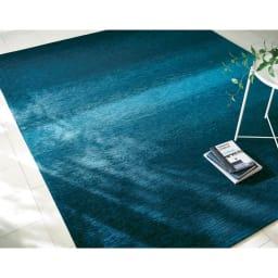 Gradation/グラデーション ベルギー製シェニール織ラグ ブルー (約200×250)