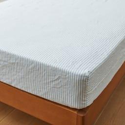 French Linen/フレンチリネン ヘリンボーン織カバーリング ベッドシーツ (イ)ライトブルー