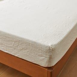 French Linen/フレンチリネン ヘリンボーン織カバーリング ベッドシーツ (ウ)ナチュラル(WEB限定色)