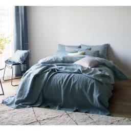 French Linen/フレンチリネン ヘリンボーン織カバーリング クッションカバー コーディネート例 (ア)グレー クッションカバー