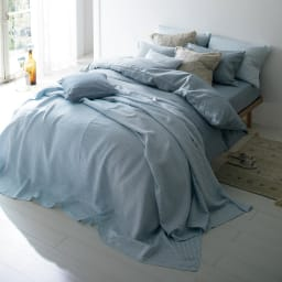 French Linen/フレンチリネン カバーリング ピローケース メランジ ーディネート例(イ)ライトインディゴ