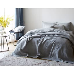 French Linen/フレンチリネン カバーリング マルチカバー メランジ コーディネート例(ア)グレー  ※お届けはマルチカバーです。