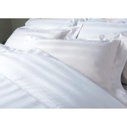 Sateen/サティーン ストライプ 超長綿カバーリング 掛け布団カバー サテンパイピングが衿元のアクセント。