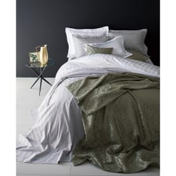 Sateen/サティーン ストライプ 超長綿カバーリング 掛け布団カバー [使用イメージ]ホワイト