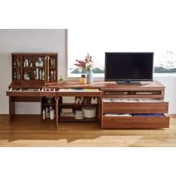 Nyhavn(ニューハウン) ウォルナットベッドサイド収納 ミドルAVチェストテレビボード 幅80奥行45高さ70cm 同シリーズのドレッサー、キャビネット幅80cm、AVチェスト幅120cmの組み合わせ例です。