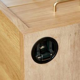 隠しキャスター付きベッドサイドワゴン 左オープンタイプ 隠しキャスターで360度、移動がらくらく
