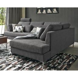 Slimleg(スリムレッグ) カバーリングソファ コーナーソファセット座って左 ダークグレー リビングの主役にふさわしいシンプルモダンなデザインのソファ。 ※ヘッドレストは別売りです。
