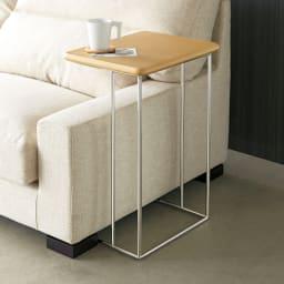 ステンレス脚のソファテーブル  高さ65cm オーク ソファサイドで使えば、天板がソファーの近くで使えます。