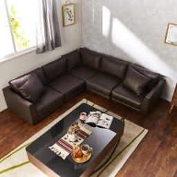 Divanol/ディバノール フロアコーナー5点セット右 コーディネート画像 テーブルサイズ 120cm×80cm