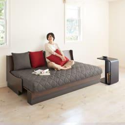 Licol/リコル ソファベッド 幅200 [国産] コーディネート例 (エ)ブラウン×グレー ベッド時