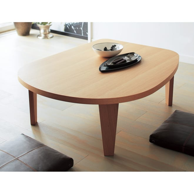 折れ脚コミュニケーションローテーブル 幅100cm 目を生かした、和室でも洋室でも使えるナチュラルデザインです。