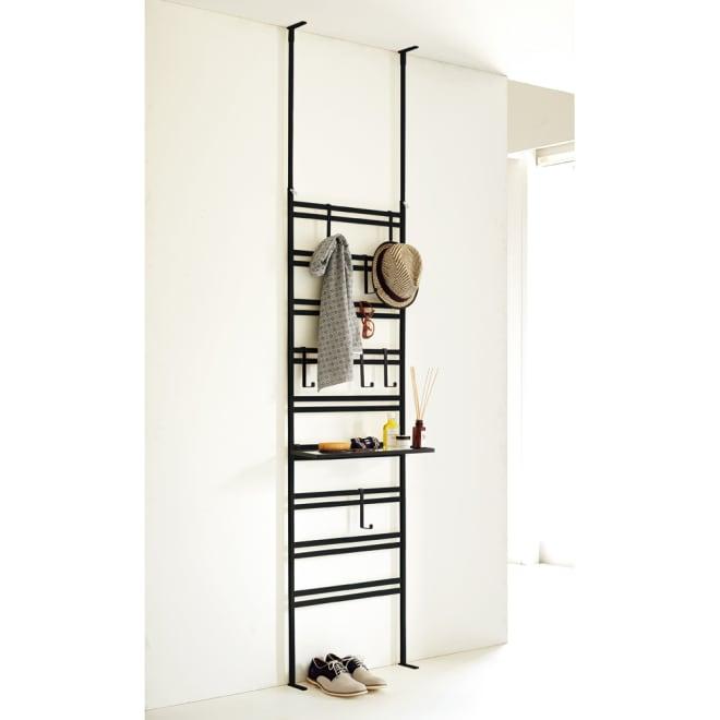 ダブルラダーパーテーション 幅55cm フック5個 [使用イメージ]ブラック ※棚板は別売りの商品です。(付属品ではございません)