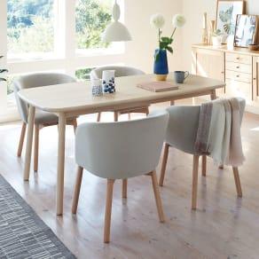 Ridge/リッジ ダイニングセット 天然木長方形テーブル5点セット テーブル幅160cm×75cm 写真