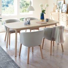 Ridge/リッジ ダイニングセット 天然木長方形テーブル5点セット テーブル幅160cm×75cm