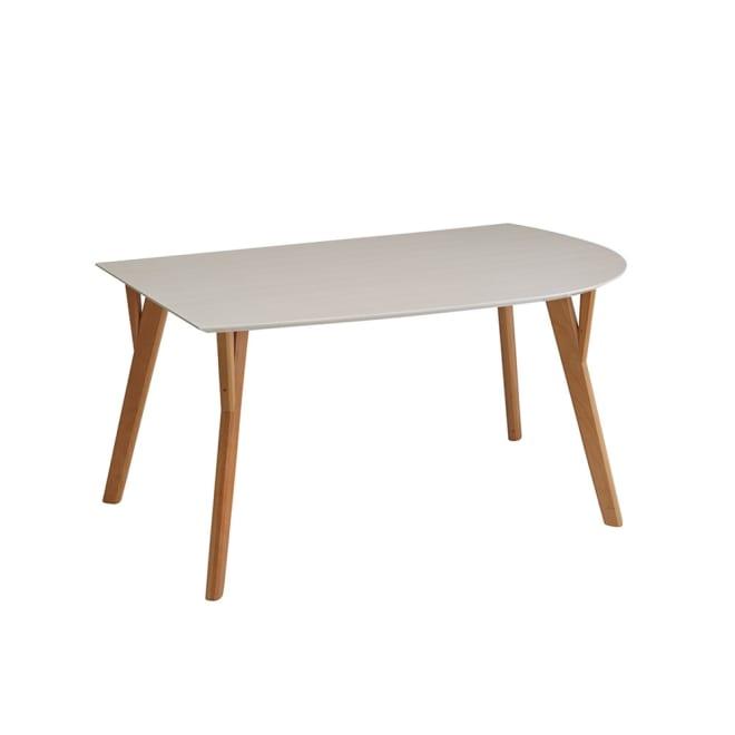 Hyva/ヒュヴァ ダイニングシリーズ 変形テーブル 幅140 (ア)ナチュラル・ホワイト