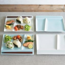 お箸が置けるパレット皿 幅24cm 4枚組 ホワイト・ブルー