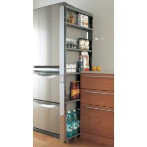 ステンレス製キッチンすき間収納ワゴン ハイタイプ(高さ164cm) 幅10奥行61cm 写真