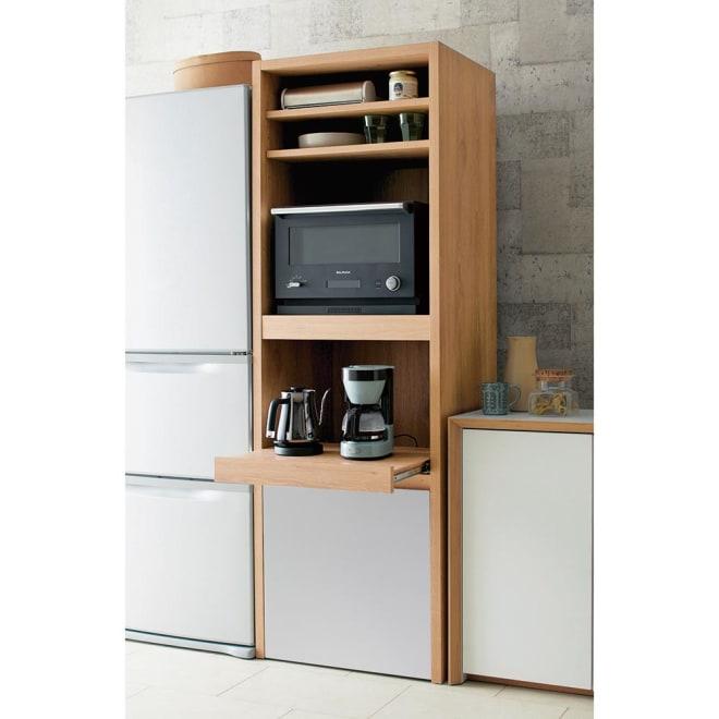 Matiz/マティース ゴミ箱がしまえるグレー家電収納 幅60cm (ごみばこ2列用※ごみ箱は別売り) 冷蔵庫とキッチンの隙間の幅60cmのスペースに置いて頂ける、レンジ台です。