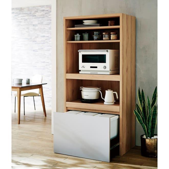 Matiz/マティース ゴミ箱がしまえるグレー家電収納 幅86cm (ごみばこ3列用※ごみ箱は別売り) 家電をたっぷり収納しながら、見せたくないゴミ箱は隠せるキッチン収納です。