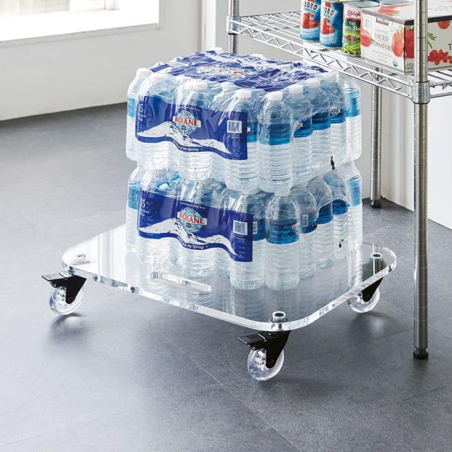 Rollen/ロレン 頑丈アクリル台車 幅58.5cm マルチワゴン 水やビールなど、ストック類の移動をスムーズに。