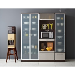 SmartII スマート2 ステンレスシリーズキッチン収納 キャビネット右開き 幅40cm ウェンジ系 同シリーズのレンジボード幅60、キッチンキャビネット幅70との組み合わせ例です。