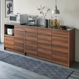 Granite/グラニト アイランド間仕切りキッチンカウンター幅140cm 引き出しタイプ ブラック×ウォルナットの洗練のデザインが高級感を醸して