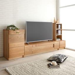 Grosse(グロッセ) 隠しガラステレビ台シリーズ レッドオーク テレビ台 幅160cm [コーディネート例]※お届けはテレビ台 幅160cmタイプです。