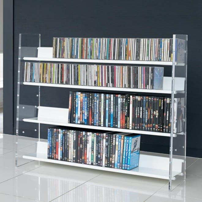 クリアーアクリルシリーズ CD・DVDラック 幅100cm 棚板4段の使用例