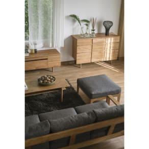 a tempo/アテンポ オーク天然木 木製フレームスツール・オットマン 幅70cm 写真