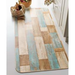 水や汚れ、傷にも強い 古材フローリング調キッチンマット 幅約80cm(丈約120~270cm) ブルー ※写真は約80×180cmです。