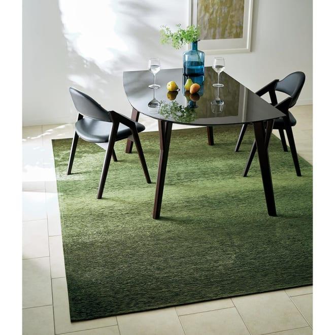 Gradation/グラデーション ベルギー製シェニール織ラグ グリーン (約200×250)