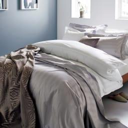 Sateen/サティーン ストライプ 超長綿カバーリング 掛け布団カバー [使用イメージ]ホワイト ※お届けは掛けカバーです。