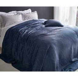 ホテル仕様ジャガード織カバー スプレッド ダークブルー (約240×270)