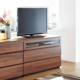 Nyhavn(ニューハウン) ウォルナットベッドサイド収納 ミドルAVチェストテレビボード 幅120奥行45高さ70cm