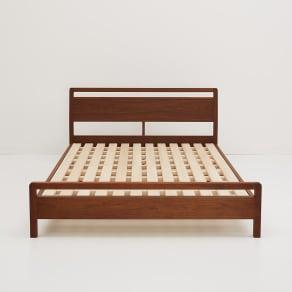 ダブル ベッドフレームのみ ウォルナット MARK/マーク 木製ベッド 写真