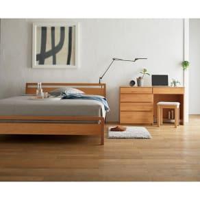 ダブル ポケットコイル ホワイトオーク MARK/マーク 木製ベッド 写真