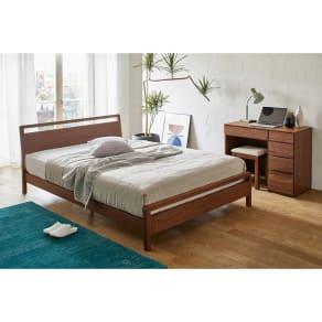 ワイドダブル 国産ユーロトップポケットコイル ウォルナット MARK/マーク 木製ベッド 写真