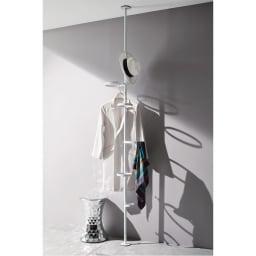 Euphy/ユフィ つっぱりハンガーラック ホワイト  ハンガーにかけた洋服や、帽子、スカーフ、ベルトなどを飾るように収納できます。