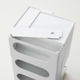 Boby Wagon/ボビーワゴン イエロー・グレータイプ[B-LINE・ビーライン/デザイン:ジョエ・コロンボ] 天板の一部は取り外しが可能です。(写真は別色ホワイトタイプ)