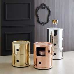 2段・高さ40cm(Componibili/コンポニビリ ストレージ メタル [Kartell・カルテル/デザイン:アンナ・カステリ・フェリエーリ]) 左からゴールド(2段)、カッパー(2段)、クローム(3段)