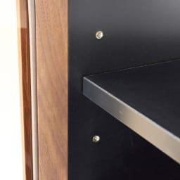 AlusStyle/アルススタイル リビングシリーズ サイドキャビネット 幅40cm・左開き 可動棚は6cmピッチで調節が可能です。棚ダボには丈夫な金属製のネジ式ダボを使用しています。