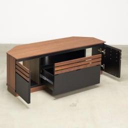 AlusStyle/アルススタイル リビングシリーズ コーナーテレビ台 幅119.5cm 引出・扉収納でコンパクトでもたっぷり収納。