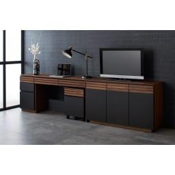 AlusStyle/アルススタイル 薄型ホームオフィス デスク 幅120.5cm [コーディネート例] ハイタイプテレビ台と合わせてコンパクトなデスクスペースに。
