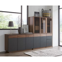 AlusStyle/アルススタイル 薄型ホームオフィス ブックシェルフ幅80cm [コーディネート例] たっぷり収納キャビネットと合わせて、本格的な書斎として。
