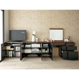 AlusStyle/アルススタイル 薄型ホームオフィス サイドチェスト [コーディネート例] テレビ台など同シリーズでまとめてたっぷり収納スペースに。