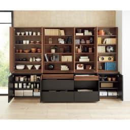 AlusStyle/アルススタイル シェルフシリーズ 上台:オープン&下台:扉 幅80cm高さ192cm 引き出し・扉収納・オープン棚の組み合わせで、仕舞いたいものに合わせて効率的な収納スペースを作ることができます。