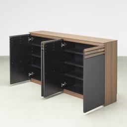 AlusStyle/アルススタイル カウンター下収納庫 4枚扉 幅160cm高さ84.5cm 薄型でもストック類などがたっぷり収納できます。