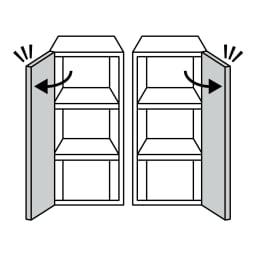 AlusStyle/アルススタイル ルーター収納書類チェスト B4タイプ高さ120cm 下部分の扉は左右開きどちらにでも設定できます(お届け時は右開き)