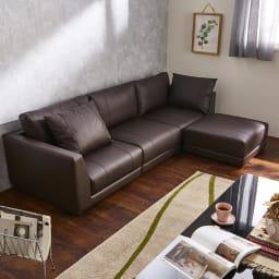 Divanol/ディバノール フロアコーナーカウチ4点 コーディネート画像 テーブルサイズ 120cm×80cm